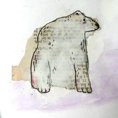 Close up of the other bear made out of old book page scraps #art #artisserie #atelierartisserie #bears #sketchbook