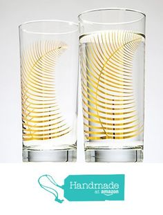 Metallic Gold Fern Glasses - Set of 2 Highball Glasses from Mary Elizabeth Arts https://www.amazon.com/dp/B01D8VLRFY/ref=hnd_sw_r_pi_dp_kbJaybG7PP49Y #handmadeatamazon