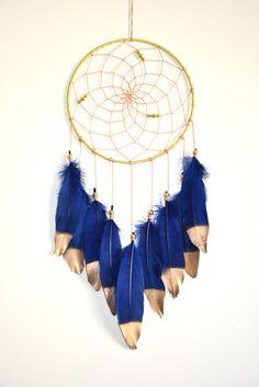 Boho Dream Catcher,  Wall Hanging Home decor, Navy Blue Nursery Decor, Navy Blue Wall Art, Feather Decor