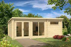 598 cm x 400 cm Gartenhaus Atrium Carlsson Wandstärke: 70 mm Roof Beam, Roofing Felt, Door Hinges, Home Office Design, Double Doors, Jacuzzi, Beams, Garage Doors, Shed