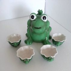 Vintage Frog Tea Pot and Cup Set  Department 56  by RosiesHut, $55.00
