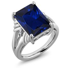 Sterling Silver Emerald Cut Blue Simulated Sapphire and White Topaz Women's Ring (10.04 cttw, Available in size 5, 6, 7, 8, 9) -- See this great product. (This is an affiliate link and I receive a commission for the sales)