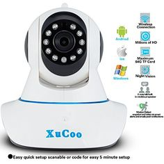 XUCOO HD 720P Wifi IP/Network Camera Video Baby Monitor Surveillance Home Security Camera System with Two-Way Audio and Night Vision Realtime Monitoring