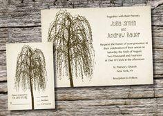 WILLOW TREE INITIALS  Rustic Wedding Invitation/Response Card - 100 Professionally Printed Invitations & Response Cards.