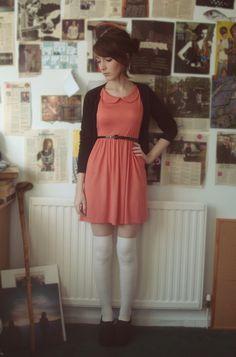 Coral! Peter Pan Collar! Dress love.