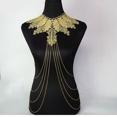 SALE large golden lace chain beaded bib gold chain body jewelry //large choker bridal jewelry // retro art deco jewelry // gift for her Jewelry Party, Art Deco Jewelry, Bridal Jewelry, Pearl Jewelry, Silver Jewellery, Lace Earrings, Lace Necklace, Body Necklace, Bralette Chain