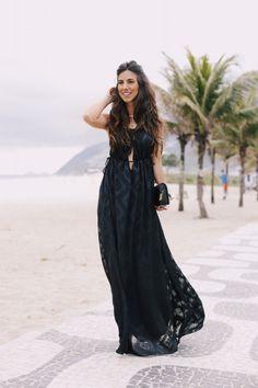 Luiza Sobral Look do Dia Rio de Janeiro black dress || vestido preto longo