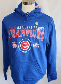 NWT Chicago Cubs Mens 2016 NLCS & World Series Champions Blue Hoodie NEW #MLB #ChicagoCubs