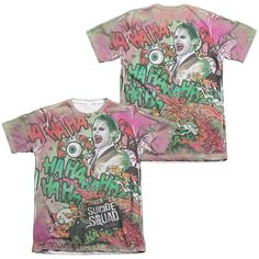 Suicide Squad - Joker Psychedelic Cartoon Adult All Over Print Poly-Cotton T-Shirt