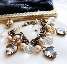 Rustic Bride Bracelet Shabby Chic Country Wedding Jewelry Bridesmaid Gifts Vintage Heart Brass Charm Bracelet Crystal Pearl Bridal Jewelry