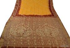 SANSKRITI VINTAGE INDIAN SAREE PURE COTTON FABRIC SARI HAND BEADED WOVEN FLORAL