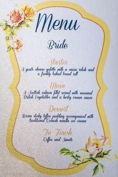 Personalised wedding breakfast menu