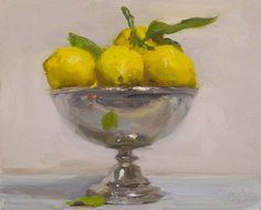 Lemons in a silver bowl A Daily painting by Julian Merrow-Smith Lemon Painting, Fruit Painting, Yellow Painting, Painters Studio, Daily Painters, Still Life Oil Painting, Wildlife Paintings, Pictures To Paint, Painting Pictures