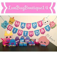 Shopkins Birthday Banner by LuvBugBoutique14 on Etsy