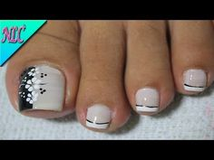 DISEÑO DE UÑAS PIES FLORES Y FRANCÉS♥ - FLOWERS NAIL ART - FRENCH NAIL ART - NLC - YouTube