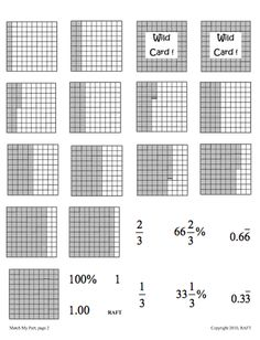 Here's an activity for matching equivalent fractions, decimals and percents.