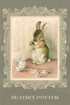 Nothing more fun than a lovely tea party ! Images Vintage, Vintage Art, Vintage Ephemera, Beatrix Potter Illustrations, Lapin Art, Beatrice Potter, Peter Rabbit And Friends, Rabbit Art, Bunny Art