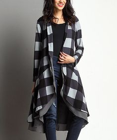 Another great find on #zulily! Black Buffalo Check Open Drape Cardigan by Reborn Collection #zulilyfinds
