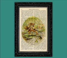Jeremy Fisher Beatrix Potter Characters Nº23 Vintage Art Print - Original Poster Dorm Room Print Gift Wall Decor Dictionary