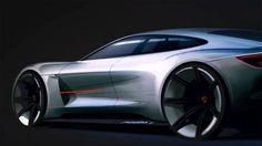 Porsche Mission E Concept Design Sketch detail
