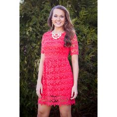 Just Can't Get Enough Dress- Coral FAVORITE!  Coral, lace, everything's perfect!