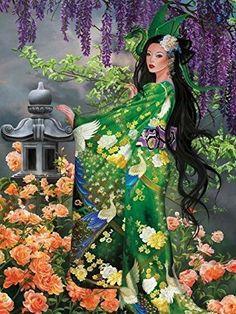 Ceaco Nene Thomas Jade 750 PC Jigsaw Puzzle Fantasy Roses Dragon for sale online Fantasy Romance, Fantasy Girl, Cross Stitch Landscape, China Art, Fairy Art, Art Model, Manga, Female Art, Jigsaw Puzzles
