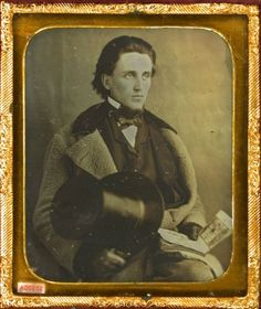 ca. 1850's, [daguerreotype portrait of a bank note salesman with open book, bank notes]