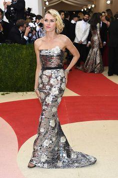 Naomi Watts in Burberry attends the Manus x Machina 2016 Met Ball Gala in NYC.