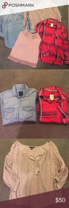 American Eagle Bundle of 4 Tops Denim button down (S), plaid flannel (S), paisley blouse (S), blush lace-trim tank (XS but fits like S). All are American Eagle brand and have been gently worn only once or twice and are in like new condition. Price is for ALL four items shown. American Eagle Outfitters Tops