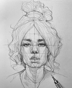 Portrait Drawing Guides and Inspiration – Bein Kemen Portrait Sketches, Art Drawings Sketches, Realistic Drawings, Sketch Art, Pencil Drawings, Nose Drawing, Drawing Faces, Female Drawing, Face Proportions Drawing