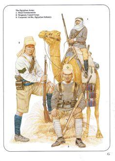 الجيش المصري في سيناء  في الحرب العالمية الأولى The Egyptian Army, early XX c.:  1: Sinai Gendarmerie;  2: Sergeant, Camel Corps;  3: Corporal, 1st Bn., Egyptian Infantry