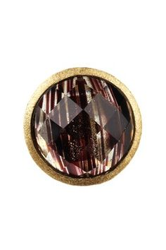 18K Gold Clad Faceted Black Rutilated Crystal Ring