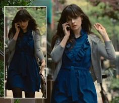 Zooey Deschanel's Blue ruffle dress on Our Idiot Brother. Outfit Details: http://wwzdw.com/z/2231/ #WWZDW
