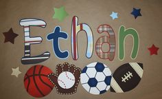 Patterned Sports Boys Bedroom Baby Nursery Wall Name Decal on Etsy, $30.00