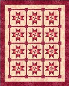 """Catch A Spinning Star Bed Quilt by Judy Laquidara  Nine patch block blocks set together so that the points from the stars do not have to match the points of other stars. The borders are simple, non-pieced borders. Finished size is 77"""" x 92"""". F PROVIDING A LINK TO YOUR FRIENDS OR INTERNET GROUPS, PLEASE USE THIS LINK: HTTP://WWW.PATCHWORKTIMES.COM/PATTERNS/"""