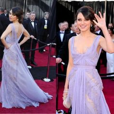 We wish we were friends with Mila Kunis so we could borrow her uh-mazing lavender Elie Saab haute couture gown from the 2011 Oscars. Wow! Love this dress!