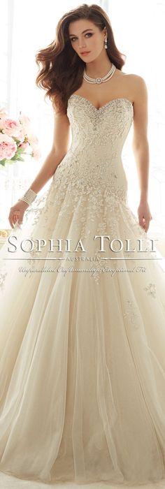 The Sophia Tolli Spring 2016 Wedding Dress Collection - Style No. Y11637 - Marquesa #laceweddingdress @moncheribridals