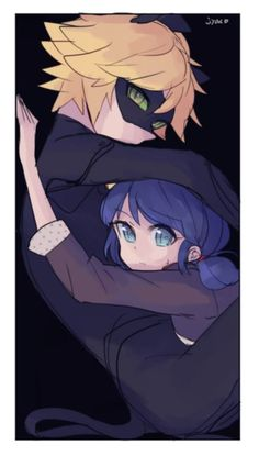 Marinette and Chat Noir in a tight spot (Miraculous Ladybug, Marichat)