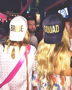 bachelorette party ideas - bride squad hats