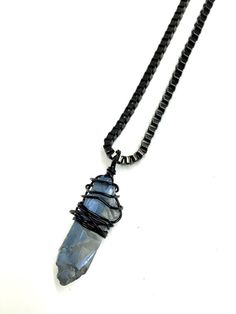 Mens Necklace w/ Blue Crystal Bullet Necklace by pearlatplay