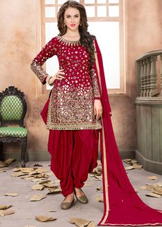 #Red Art #Silk #Punjabi #Salwar #Suit With #Dupatta