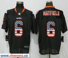 91bec22d8 Men s Nike Cleveland Browns 6 Baker Mayfield Black USA Flag Fashion Elite  Jersey