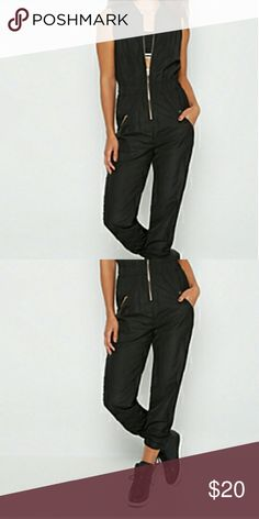 Jumpsuit This is a black sleeveless jumpsuit with gold zippers on both pockets and front entry it is 100% polyester contract is 95% polyester 5% spandex it also has elastic ankles definitely a great outfit for the nice weather ahead bundle two items and receive a discount Pants Jumpsuits & Rompers