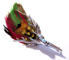 Vintage Feather Brooch / Scottish Silver Metal Stag Grouse Feather Kilt Pin Brooch / Costume Jewelry. $12.00, via Etsy.