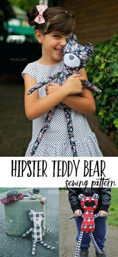 Hipster Teddy Bear PDF Sewing Pattern - a modern bear softie sewing pattern that can be digitally downloaded. Great gift to sew for boys and girls.