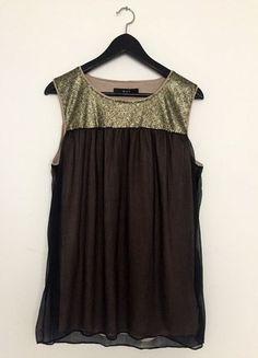 Kaufe meinen Artikel bei #Kleiderkreisel http://www.kleiderkreisel.de/damenmode/tuniken/137836824-oui-blusetunika-mit-goldenen-pailletten-ungetragen-ohne-mangel