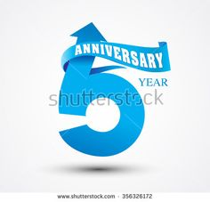 5 Anniversary numbers with ribbon - stock vector