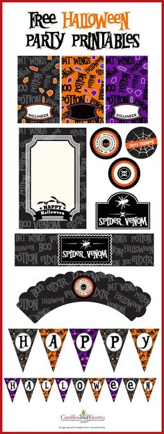 Free Halloween Party Printables including invitations, cupcake toppers, cupcake wrappers, Happy Halloween banner, water bottle labels and more. I love the venom and potions theme!  See more free Halloween printables at http://CatchMyParty.com!
