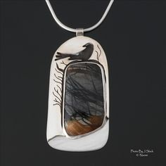 "Pendant | Naomi Assenheim (Opal Wing Creations).  ""Windy Morning"".  Sterling silver, Picasso jasper"