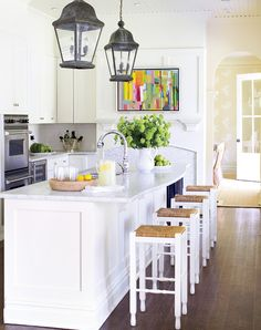 "hamptons interior design style | Kitchen A white kitchen lets you showcase colourful food, ""but bring ..."